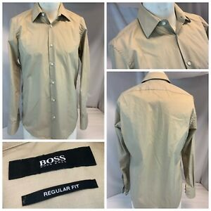 Hugo Boss R Fit Shirt 15 32 Tan 100% Cotton Spread Collar Turkey Mint YGI E1-309
