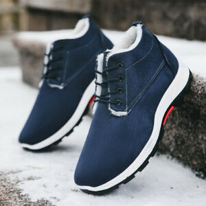 Mens Faux Suede Fleece Lined Ankle Snow Boots Winter Warm Outdoor Lace Up Shoes