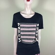 J.CREW Damen Shirt Gr S 36 Schwarz Leinen Jersey Top Oberteil Streifen Motiv