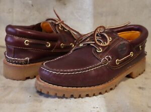 mens TIMBERLAND Leather Moc Toe Deck Boat LUGGED Sole SHOES 7 M ** NICE!!