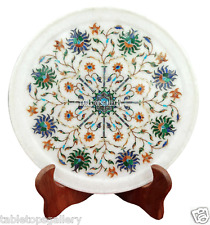 "9"" White Marble Serving Dish Plate Rare Pietra Dure Arts Table Decor Gifts H2274"