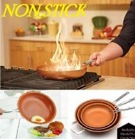 Healthy non-stick round frying pan copper coating bottom induction kitchen cook
