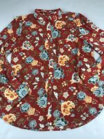 Ann Taylor Loft Small S Floral Top Blouse Long Sleeve Button Shirt Red Blue