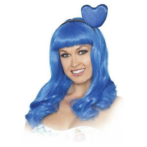 Adult Women's Katy Perry California Girls Gurls Costume Heart Blue Costume Wig