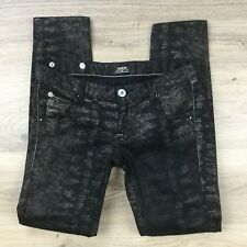 RaRe Women's Jeans Slim Fit Black Brown Snakeskin Size 29 Actual W32 L30 (BL1)