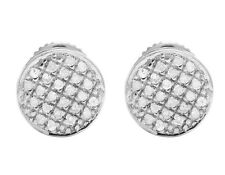 Ladies Men's 10K White Gold Real Diamond Round Pave Stud Earrings .33ct 7MM