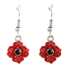 Remembrance Poppy 4 Petals Drop Earrings Enamel Crystal Charity Donation Gift