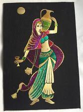 "Original Straw Art Measures 17.5"" x 12"" Multi colored Picture India/Pakistan"