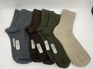 8 pr Women's Cotton/Bamboo Crew Socks - Green, Oatmeal, Grey, Brown  9-11
