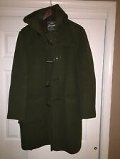 The Original Gloverall Wool Blend Olive Colored Hooded Duffle Coat