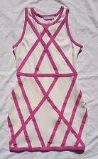 EX CON Talulah Size M Dress White Fitted Pink Detail Mini Sleeveless Event Races