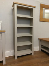 Dorset Grey Painted Tall Narrow Bookcase / Slim Shelving Unit / Storage