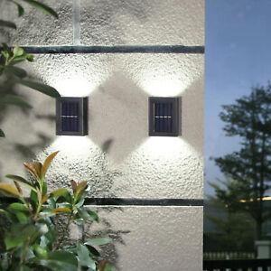 2 LED Solar Power Wall Light UP and Down Outdoor Sensor Lamp for Garden Black