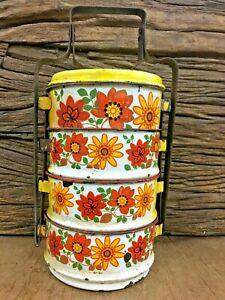 Old Vintage Floral Islamic 4 Compartment Porcelain Enamel Lunch Box Tiffin