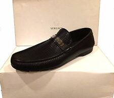 Gianni Versace Men's Black Loafer Leather Italy Shoes Sz 12.5 Driving Moccasins