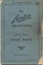 Austin 14 Fourteen original Price List Spare Parts 1939 No. 1618A unillustrated