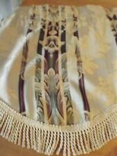 fringed Valance Stripes And Florals 53Wx16 tan burgandy Scalloped Hem 3Available