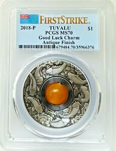 2018-P: 1 oz Silver Good Luck Rotating Charm Antiqued Finish Coin - PCGS MS70 FS