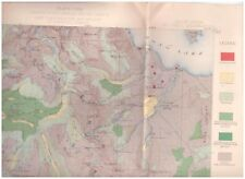 Mt. Lyell region California 1899 Color Map Timber Yosemite