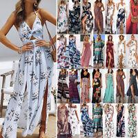 Floral Women Summer Boho Maxi Dress Evening Party Beach Wear Long Split Sundress