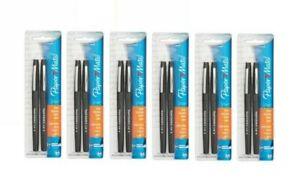 pack of 6 sets Paper Mate Flair Pen, Point Guard Tip, Black 2 ea 12 pens total
