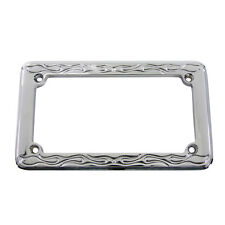 "Chrome Flame Style License Plate Frame for 4"" x 7"" Harley Motorcycle Custom"