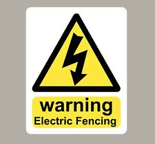 WARNING ELECTRIC FENCE SIGNS STICKERS X 2
