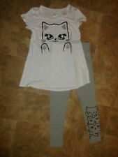 Girls Justice Kitten Cat Outfit Short Sleeve Shirt & Leggings Size 14/16 NWT