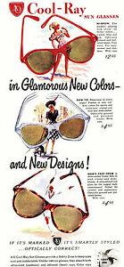 1947 Amreican Opticial Cool-Ray Sunglass Poster 9 x 19 Giclee Iris Print