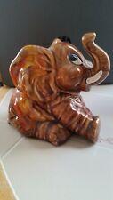 Vintage ceramic brown n orange glazed baby elephant rare hard to find