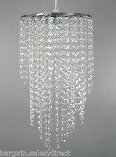 Arundel Blanco Larga Acrílico Luz de Techo Colgante De Marco De Cromo Con Cuentas Cortina de lámpara
