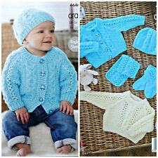 Baby KNITTING PATTERN Babies Cable Cardigan Jumper Scarf& Hat Aran KingCole 4646
