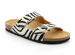 GRÜNLAND sandali CIABATTE SARA CB2457 BIANCO multi ZEBRA donna animalier SOFT
