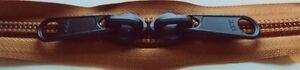 YKK Nylon Coil Zipper Tape # 10 Copper 25 yards with 50 Black Zipper Sliders