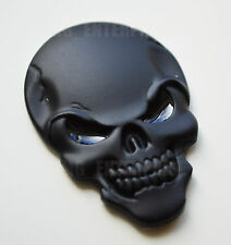 Self Adhesive Chrome 3D Metal Black Skull Badge for Cars Vans Quads Scooters