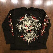 Skull Dragon Graphic Long Sleeve Shirt Mens Size M