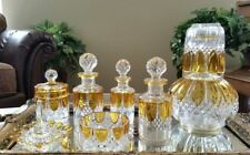 Antique Val St Lambert (8 pc) Amber Yellow to Clear Vanity Dresser Set, SIGNED