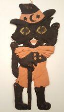 GERMANY BLACK CAT VINTAGE HALLOWEEN DECORATION ANTIQUE DIE-CUT EMBOSSED PAPER