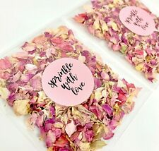 Natural Biodegradable Wedding Confetti Packets Dried Rose Petal Delphiums PINK
