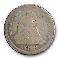 1849 O 25C Seated Liberty Quarter PCGS G 6 Good to Very Good Key Date Rare !