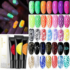 5/8ml Fluorescent Holo  Black Color Nail Art Stamping Gel Polish BORN PRETTY
