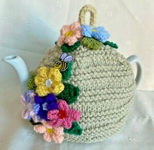 Hand Knitted Flowers / Bee Hive Style Tea Cosy For Large Pot 3 to 4 Pint