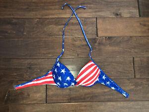 Xhilaration American Flag Push Up Halter Bikini Top Americana Patriotic Size L