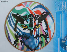 OWL IN MULTICOLOUR ~ **LARGE** IRON ON APPLIQUE MOTIF PATCH, BRAND NEW