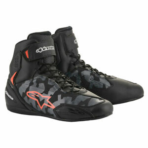 Alpinestars Faster-3 Motorcycle Riding Shoes Black / Camo Grey / Fluo Red