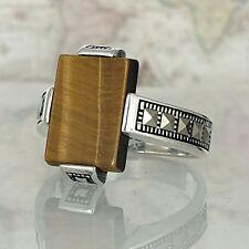 Solid 925 Sterling Silver Tiger Eye Gemstone Mens Ring Handmade Turkish Ottoman