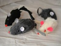 "2/"" FAUX FUR MICE CAT TOYS Rattles Humane Fuzzy Fur Fake Mice Lots 6//12//36"