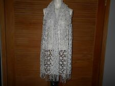 """RSVP Light Silver Gray Sequined Fringed scarf, wrap, stole, shawl 70"""" Plus #272"""