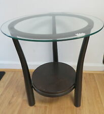 ROUND GLASS TOP TABLE THREE WOODEN LEGS