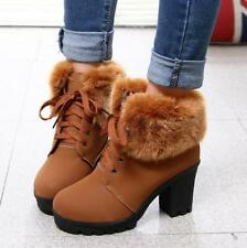 Womens Winter Warm Fur Ankle Boots Lace Up Chunky Heel Booties Platform Shoes